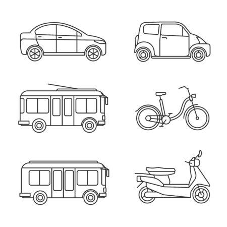 Ikony cienka linia transportu miejskiego. Wektor zestaw ikon transportu liniowego, zarys obrazów samochodów i autobusów, rowerów i taksówek, motocykli i wózków na białym tle