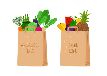 Eco shopping bags. Paper bags with fruits and vegetables. Vegan shopping vector concept