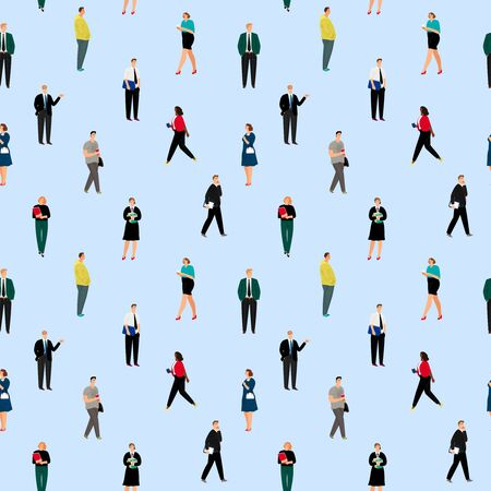 Office people pattern. Business dressed workers seamless background, corporate work dress stylish diverse young businessmen and management women vector illustration