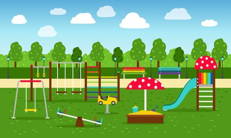 Park playground. Playing garden leisure equipment without kids vector illustration, play and sports kindergarten playgrounds background for children outdoor activity Stock Illustratie