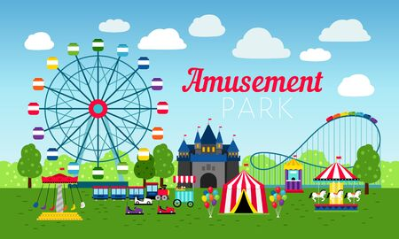 Attractions park design, vector illustration. Amusement entertainment park colorful background with fun roller ride, carnival games, rollercoaster and cartoon circus tents