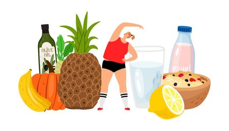 Healthy lifestyle. Fresh food, water with lemon, fruits and gilr vector character Stock Illustratie