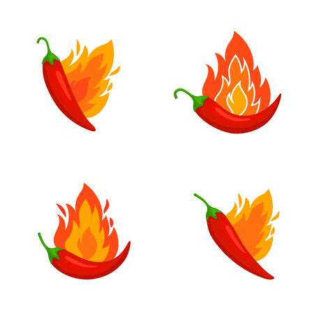 Burned chilli peppers. Hot mexican food symbols, chilly with flame for kitchen cooking design, fire vegetables icons