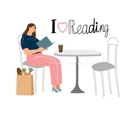 Reading concept. Girl reading book in street cafe. Student learning vector illustration