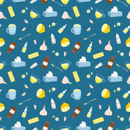 Cold remedies seamless pattern. Winter cold and flu health remedy vector texture, syrup with lemon and medicine aspirine pills, medication drops