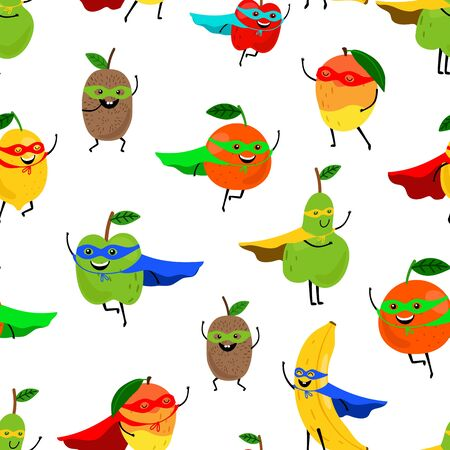 Super fruits seamless pattern. Smiling fruit superheroes vector texture. Cute print isolated on white background