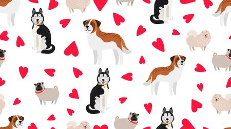 Dogs seamless pattern. Pet love texture. Vector cute dogs and hearts background