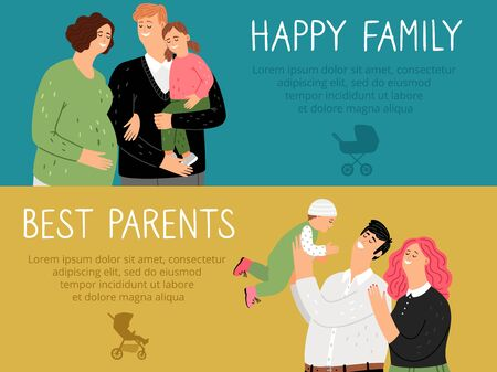 Parenthood banners. Happy family best parents vector background. Cute smiling mothers fathers and kids