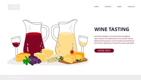 Wine tasting landing page. Homemade craft wine with cheese vector banner template Stock Illustratie