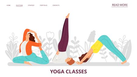Yoga classes landing page. Women doing yoga exercises. Vector sport girls characters Stock Illustratie
