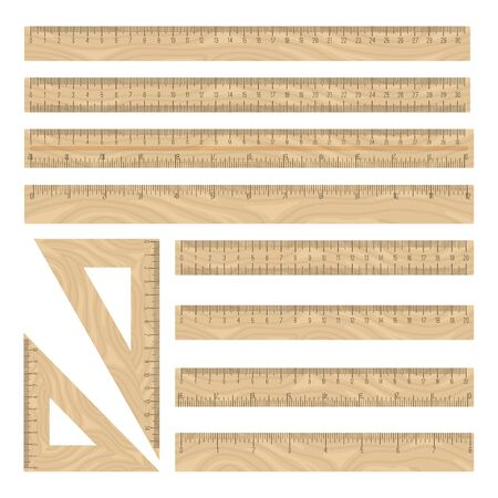 Rulers wood vector icons set, traight and triangle geometry instruments collection on white backgroung Stock Illustratie