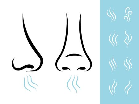 Smell icons with human nose and air. Breathing and aroma vector icons set