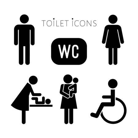 Toilette, collezione di icone wc per uomo, donna, madre e bambino e persona su sedia a rotelle. Set di icone vettoriali nero per lavabo