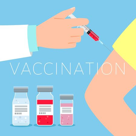 Vaccination concept vector illustration with doctor and patient hands and medicines
