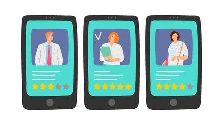 Doctors rating. Choose your doctor online. Medical staff reviews, five stars rating vector illustration