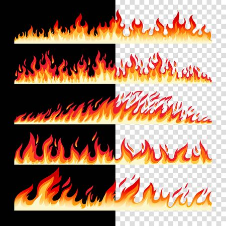 Horizontal seamless fire borders on checkerd and black bacground, vector icons collection