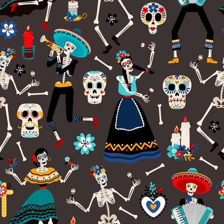 Dia de los muertos, mexican day of the dead pattern with skulls, skeletons and flowers, vector illustration Stock Illustratie