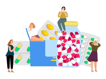Women and antidepressants. Sedatives, medical treatment for depression. Vector crying girls and pills Illustration