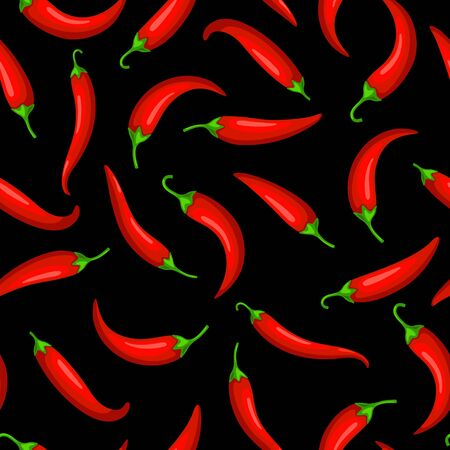 Red hot chilli peppers on black background, vector pattern