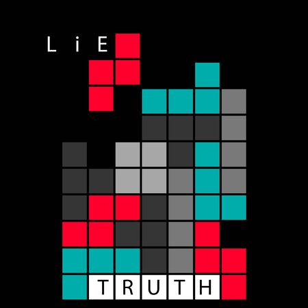 Truth and lie concept illustration. Tetris brick retro game. Logical and critical thinking idea. True and fake information. Choosing correct answer metaphor isolated on black background