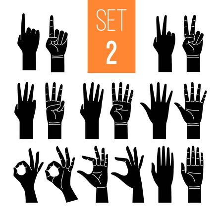 Woman hands showing gesture glyph icons set. One, two, three, four, five numbers symbol. Arm pointing with index finger isolated clipart on white background. OK symbol. Nonverbal language