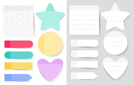 Sticky notes vector illustrations set. Notepad blank paper sheet for planning and scheduling. Round, heart, square shapes color empty reminders isolated cliparts pack. Memo notes collection Stock Illustratie