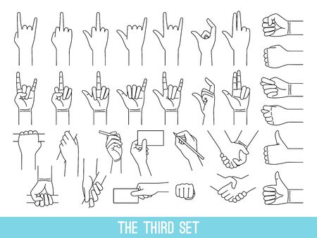 Hands showing gestures outline illustrations set. Arm holding bar, handrail isolated cliparts on white background. Cool, good symbols pack. Handshake, fist. Nonverbal language design elements