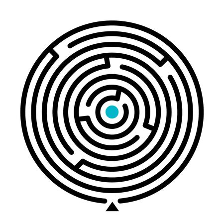 Round labyrinth vector illustration. Find path educational game on white background. Circle shape maze with entry isolated clipart. Problem solving, challenge and logical thinking concept Иллюстрация