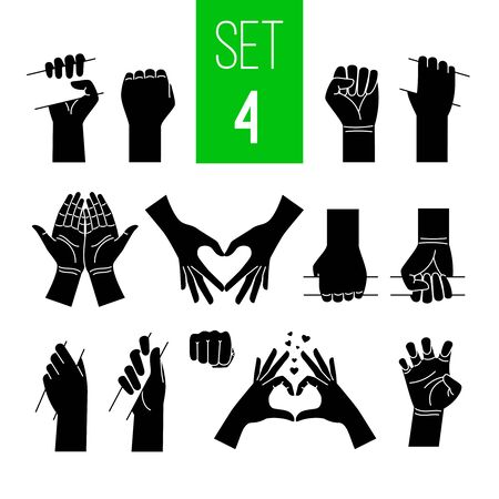 Woman hands showing gestures black illustrations set. Arm holding bar, stick, bus handrail isolated cliparts on white background. Love and peace symbols pack. Nonverbal language design elements