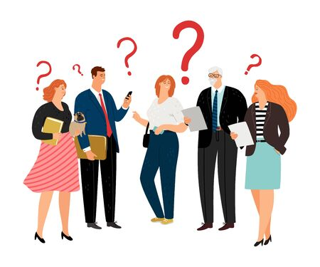 People have question. Question marks, different age business team vector characters Banco de Imagens - 132243580