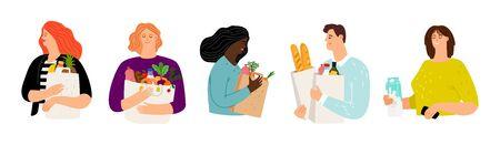 Leute mit Einkaufstüten. Karikaturfrauen und -männer mit Lebensmittelvektorsatz