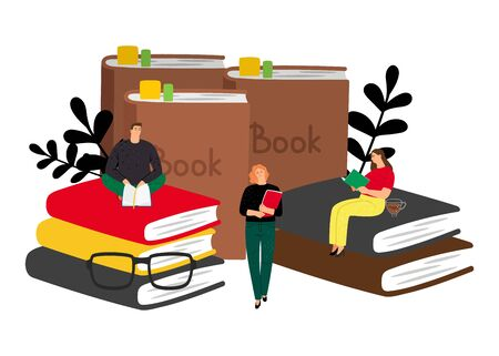 Reading concept. Vector books and tiny people. Students with books, male female flat cartoon characters