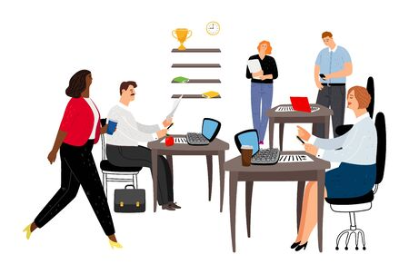 Office life. Men and women working at office. Managers characters. International business team, vector illustration Illustration