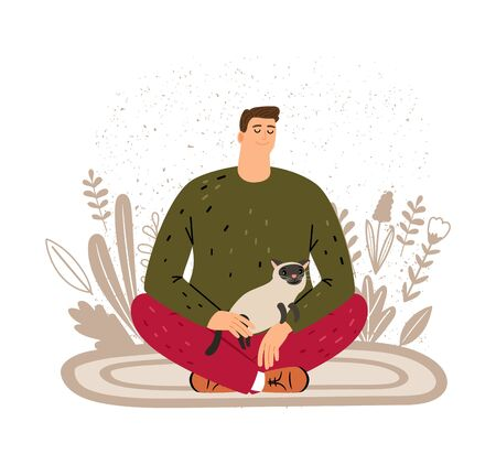 Man resting with cat. Animal therapy for people vector illustration. Meditation concept