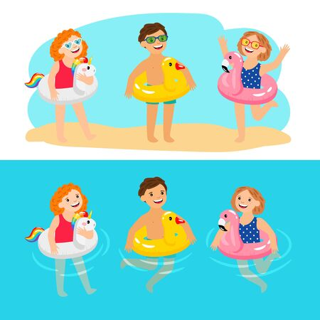 Happy kids with pool swimming rings. Funny and fun children with inflatable pool rings, enjoy summer characters, enjoying kids with rubber animals lifebelts, vector illustration Stock Illustratie