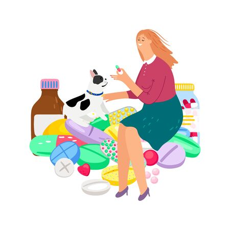 Pet treatment. Woman gives pill to dog. Vector owner and animal characters, pets care illustration