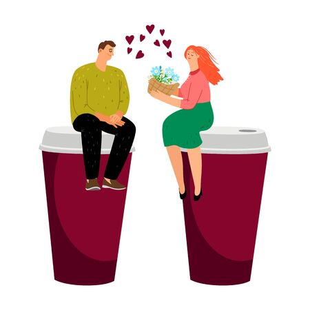 Coffee dating. Couple in love, take away coffee cups. Vector male female flowers and drink