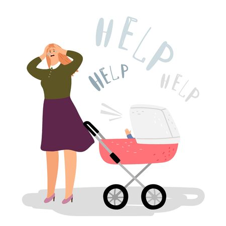 Postnatal depression concept. Crying woman, newborn in buggy. Vector postpartum depression, mother need help