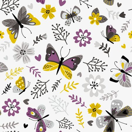 Butterflies and sprigs pattern. Florals botanicals seamless print, printed botanical floral vector background on white, decorative spring meadow flora vector illustration