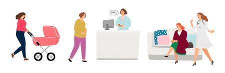 Recepcja gabinetu lekarskiego. Ginekolog, gabinet pediatry. Płaskie postacie kobiece, lekarze i pacjenci, ilustracji wektorowych
