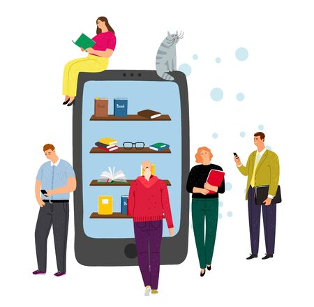 Online library concept. Phone, e-reading app and tiny people characters. Cartoon boy and girl with books, vector illustration Stock Illustratie