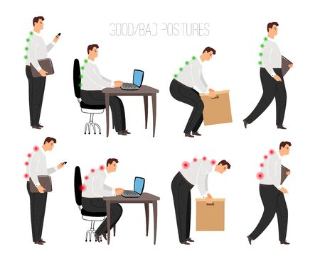 Man improper and correct postures. Properly laptop sitting position and heavy object lift, standing and walking correctly concept with male person character isolated on white background, vector Stock Illustratie