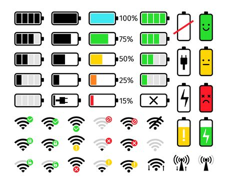 Charge and signal mobile icons. Battery and wifi phone system bar icon set, energy charging or full power loading, low or hi levels communication signals status signs, vector illustration