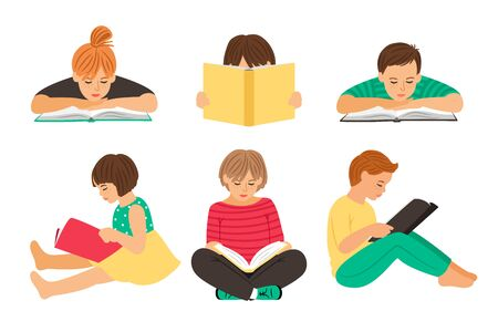 Cartoon reading kids. Teens students with books isolated on white background, pupils or schoolchildren youth read clipart vector illustration