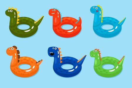 Dinosaurs swimming ring. Smiling dinosaur pool objects, funny children lifebuoys isolated on water background, vector illustration