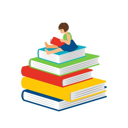 Cartoon reading little girl. Clever happy girl kid sitting on books pile and read, preschool learning book vector concept