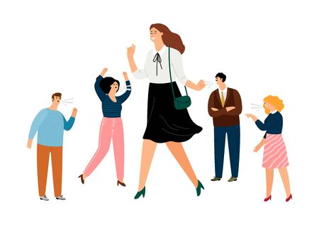 Stay positive. Smiling woman and angry people. Happy businesswoman ignoring toxic coworkers vector illustration