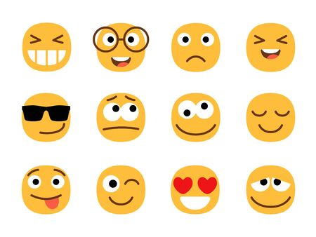 Yellow cute and fun emoticons faces. Smiles or smiling person signs, emoji portraits isolated on white background, ball face emoticon characters, vector illustration
