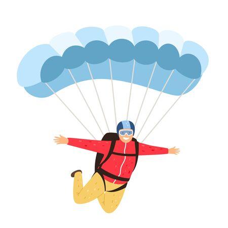 Fallschirmspringer isoliert. Gemächlicher Fallschirmspringer isoliert auf weißem Hintergrund, Fallschirmspringer im Himmel, Freizeitaktivitäten mit Fallschirm und Menschenabenteuer, Vektorillustration