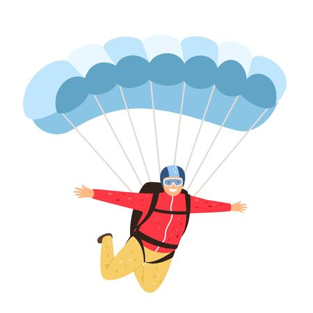 Skydiver isolated. Leisurely parachutist isolated on white background, parachuting man in sky, parachute lifestyle leisure activity and people adventure, vector illustration